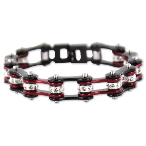 Black and Candy Red Crystal Chain Bracelet