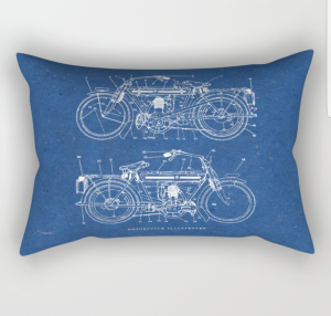 Motorcycle Blueprint Rectangular Pillow