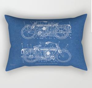 Motorcycle Blueprint Rectangular Pillow