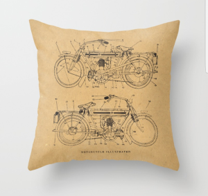 Motorcycle Diagram Throw Pillow