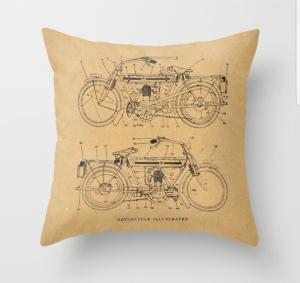 Motorcycle Diagram Throw Pillow