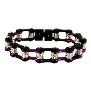 Purple and Black Double Crystal Chain Bracelet