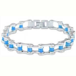 Silver and Teal Chain Bracelet
