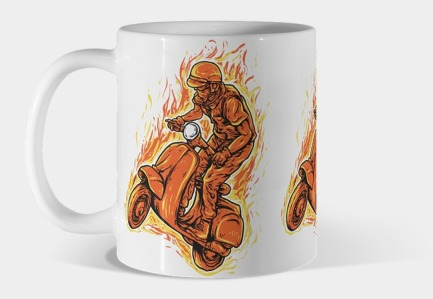 Vespa on Fire Mug